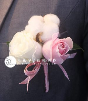 粉白棉花胸花